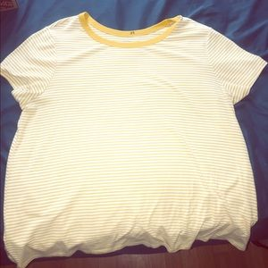 XL navy yellow striped tee